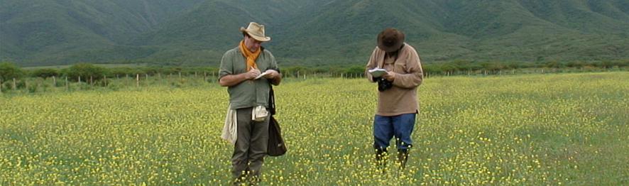 Gérard Ducerf et George Oxley relevant les plantes bioindicatrices pour réaliser un diagnostique de sol.